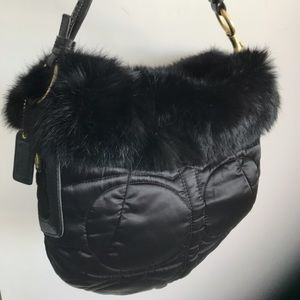 COACH Authentic fur trim black signed mini bag